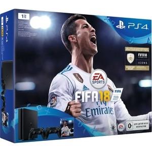 Игровая приставка Sony PlayStation 4 1Tb + FIFA 18 + PS Plus 14 дней игровая консоль playstation 4 slim 1tb dualshock 4 fifa 18