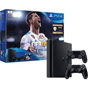 Игровая приставка Sony PlayStation 4 1Tb + FIFA 18 + 2 геймпада + PS Plus 14 дней