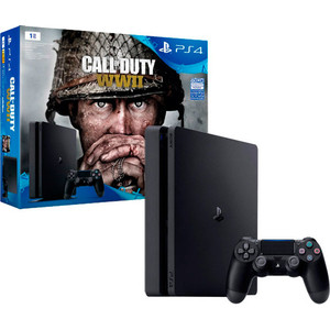 Игровая приставка Sony PlayStation 4 1Tb + Call of Duty:WW II игровая приставка playstation 4 хиты playstation в комплекте с тремя играми horizon zero dawn god of war 3 uncharted 4 и подпиской playstation plus 90д