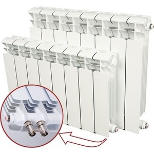 Радиатор отопления RIFAR BASE VENTIL 500 BVR 4 секции биметаллический нижнее правое подключение алюминиевый радиатор rifar alum ventil avr 500 14