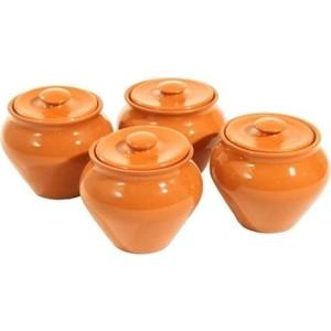 Набор керамических горшков 4 предмета Вятская керамика (НБР ВК-1/4СВЧ) набор горшков для цветов miolla кожа со скрытым поддоном 4 предмета