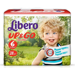 Libero Трусы детские одноразовые Up&Go экстра лардж 13-20кг 28шт упаковка экономичная