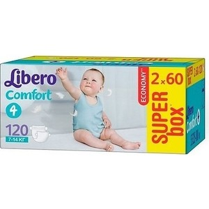 Libero Подгузники детские Комфорт макси 7-14кг 120шт упаковка супер бокс