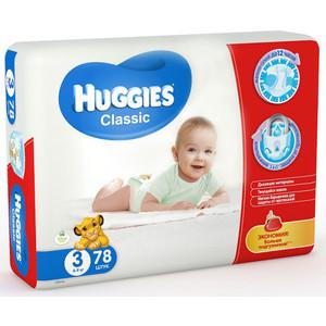 Huggies Подгузники CLASSIC Размер 3 4-9кг 78шт huggies classic подгузники disney baby 3 4 9 кг 31 шт