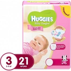 Huggies Подгузники Ultra Comfort Размер 3 5-9кг 21шт для девочек