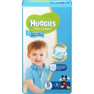 Фото Huggies Подгузники Ultra Comfort Размер 5 12-22кг 15шт для мальчиков