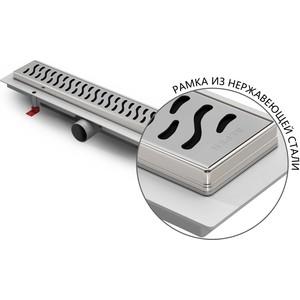 Душевой лоток с решеткой Alpen Harmony 850 мм,хром матовый, с рамкой из нержавейки (CH-850HN1)