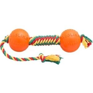 Игрушка Doglike гантель средняя канат желтый-зеленый-красный для собак (D-2369ygr) гантель для фитнеса s образная larsen nt169s