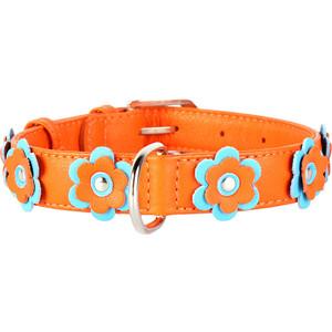 Ошейник CoLLaR Glamour с украшением аппликация ширина 25мм длина 38-49см оранжевый для собак (35034) ошейник collar glamour радуга ширина 25мм длина 38 49см для собак 3921