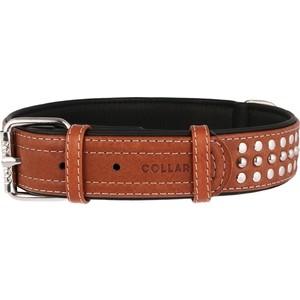 Ошейник CoLLaR SOFT кожаный двойной с металлическими украшениями ширина 35мм длина 46-60см коричневый верх, черный низ для собак (7215)