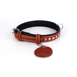 Ошейник CoLLaR SOFT кожаный двойной с металлическими украшениями ширина 20мм длина 30-39см коричневый верх, черный низ для собак (7197)