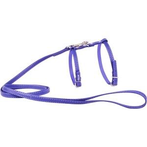 Шлейка CoLLaR Glamour с поводком кожаная двойная 115см*12мм обхват шеи 25-35см обхват груди 35-45см фиолетовый для кошек и собак (34009)