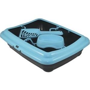 Туалет MP-Bergamo Birba c рамкой, миской и совочком для кошек 46*36*12см цвета в ассортименте (87522)