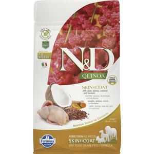 Сухой корм Farmina N&D Dog GF Quinoa Skin & Coat Quail & Coconut & Turmeric беззерновой с перепелкой киноа кокосом и куркумой для собак 800г