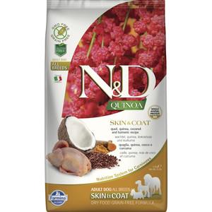Сухой корм Farmina N&D Dog GF Quinoa Skin & Coat Quail & Coconut & Turmeric беззерновой с перепелкой киноа кокосом и куркумой для собак 2,5кг
