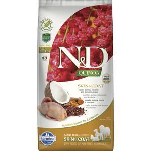 Сухой корм Farmina N&D Dog GF Quinoa Skin & Coat Quail & Coconut & Turmeric беззерновой с перепелкой киноа кокосом и куркумой для собак 7кг