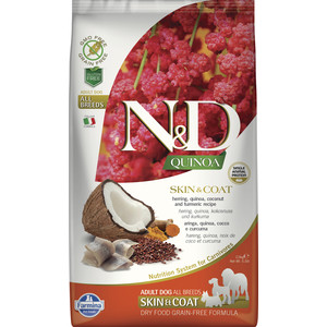 Фотография товара сухой корм Farmina N&D Dog GF Quinoa Skin & Coat Herring Coconut & Turmeric беззерновой с сельдью киноа кокосом и куркумой для собак 2,5кг (809741)