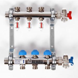 Коллекторная группа REHAU 1х3/4 3 выходов HKV-D с расходомером и термостатическими вентилями (208031) watts коллектор для радиаторной разводки hkv a 3