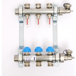 Коллекторная группа Uni-Fitt Н 1х3/4 3 выходов с расходомерами и термостатическими вентилями (455W4303)
