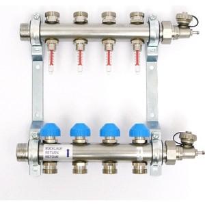 Коллекторная группа Uni-Fitt Н 1х3/4 4 выходов с расходомерами и термостатическими вентилями (455W4304)