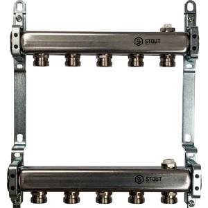 Коллекторная группа STOUT 1х3/4 5 выходов для радиаторной разводки (SMS 0923 000005) watts коллектор для радиаторной разводки hkv a 3