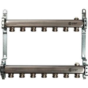 Коллекторная группа STOUT 1х3/4 7 выходов для радиаторной разводки (SMS 0923 000007) stout коллектор из нержавеющей стали для радиаторной разводки 7 вых