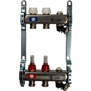 Коллекторная группа STOUT 1х3/4 2 выходов с расходомерами с клапаном выпуска воздуха и сливом (SMS-0927-000002) коллекторная группа stout 1х3 4 4 выходов с расходомерами sms 0917 000004