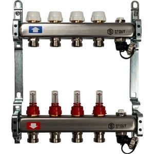 Коллекторная группа STOUT 1х3/4 4 выходов с расходомерами с клапаном выпуска воздуха и сливом (SMS-0927-000004) коллекторная группа stout 1х3 4 4 выходов для радиаторной разводки sms 0923 000004