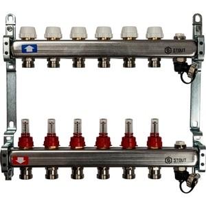 Коллекторная группа STOUT 1х3/4 6 выходов с расходомерами с клапаном выпуска воздуха и сливом (SMS-0927-000006) коллекторная группа stout 1х3 4 6 выходов с расходомерами smb 0473 000006