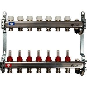 Коллекторная группа STOUT 1х3/4 7 выходов с расходомерами с клапаном выпуска воздуха и сливом (SMS-0927-000007) коллекторная группа stout 1х3 4 7 выходов с расходомерами sms 0907 000007