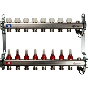 Коллекторная группа STOUT 1х3/4 8 выходов с расходомерами с клапаном выпуска воздуха и сливом (SMS-0927-000008) коллекторная группа stout 1х3 4 8 выходов с расходомерами sms 0917 000008