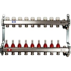 Коллекторная группа STOUT 1х3/4 9 выходов с расходомерами с клапаном выпуска воздуха и сливом (SMS-0927-000009) коллекторная группа stout 1х3 4 12 выходов с расходомерами с клапаном выпуска воздуха и сливом sms 0927 000012
