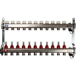 Фотография товара коллекторная группа STOUT 1''х3/4'' 11 выходов с расходомерами с клапаном выпуска воздуха и сливом (SMS-0927-000011) (810535)