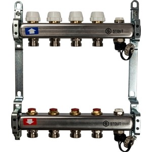 Коллекторная группа STOUT 1х3/4 4 выходов без расходомеров с клапаном выпуска воздуха и сливом (SMS-0932-000004) коллекторная группа stout 1х3 4 4 выходов без расходомеров sms 0912 000004