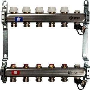Коллекторная группа STOUT 1х3/4 5 выходов без расходомеров с клапаном выпуска воздуха и сливом (SMS-0932-000005) коллекторная группа stout 1х3 4 12 выходов с расходомерами с клапаном выпуска воздуха и сливом sms 0927 000012
