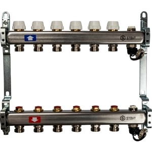 Коллекторная группа STOUT 1х3/4 6 выходов без расходомеров с клапаном выпуска воздуха и сливом (SMS-0932-000006) коллекторная группа stout 1х3 4 12 выходов с расходомерами с клапаном выпуска воздуха и сливом sms 0927 000012