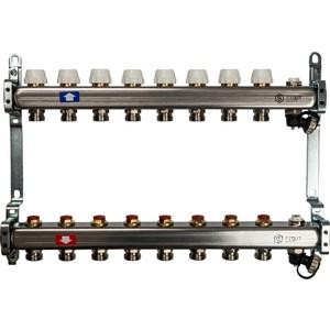 Коллекторная группа STOUT 1''х3/4'' 8 выходов без расходомеров с клапаном выпуска воздуха и сливом (SMS-0932-000008)