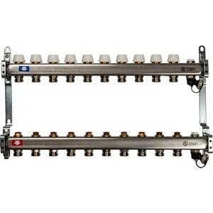 Фотография товара коллекторная группа STOUT 1''х3/4'' 10 выходов без расходомеров с клапаном выпуска воздуха и сливом (SMS-0932-000010) (810544)