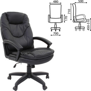 Кресло офисное Brabix Trend EX-568 экокожа черное 531395 кресло офисное brabix heavy duty hd 001 экокожа 531015