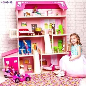 PAREMO Деревянный дом Барби ''Нежность'' (28 предметов мебели, 2 лестницы, гараж) (PD316-01)