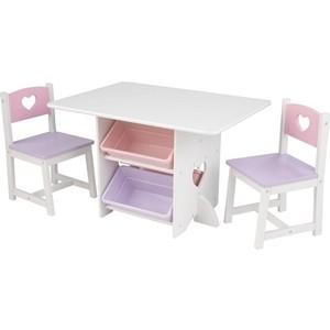 KidKraft Набор детской мебели ''Heart'' (стол+2 стула+4 ящика) (26913_KE)