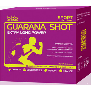 Энергетический напиток BBB Guarana Shots (апельсин, 20 ампул, 1500 мг в ампуле) энергетический напиток atech nutrition guarana wild power гуарана 500 мл