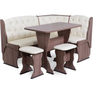 Набор мебели для кухни Бител Орхидея - люкс (шимо ясень темный, Борнео крем, шимо ясень темный) набор бител орхидея однотонный шимо ясень темный тр 2 тринити шоколад шимо ясень темный