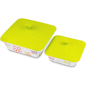 Набор форм для приготовления с крышками 2 штуки Oursson Cerammic & Silicone Цветы (BW2505SC/GA) набор салатников с крышками oursson bs 4781 rc dc page 3