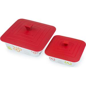 Набор форм для приготовления с крышками 2 штуки Oursson Cerammic & Silicone Цветы (BW2505SC/RD) набор салатников с крышками oursson bs 4781 rc dc page 3
