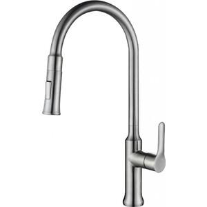 Смеситель для кухни BelBagno с выдвижным изливом, нержавеющая сталь, сатин (BB-LAM38-IN) смеситель для кухни kludi l ine с выдвижным изливом 428210577