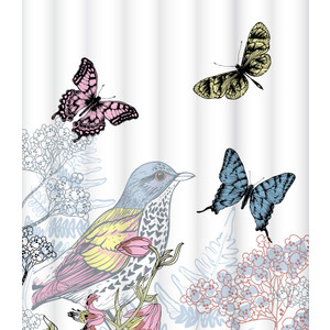 Штора для ванной Lemark Colorful butterflies (C1820T004) retro style butterflies deer newspaper pattern square shape flax pillowcase without pillow inner