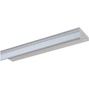 Карниз потолочный пластиковый DDA Прямой Греция двухрядный серебро 2.8