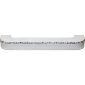 Карниз потолочный пластиковый DDA Поворот Гранд двухрядный белый хром 3.6