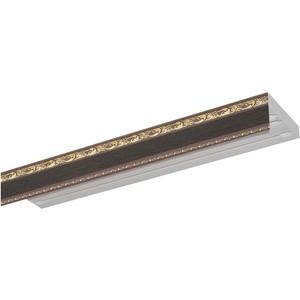 Карниз потолочный пластиковый DDA Прямой Гранд двухрядный венге 3.8 карниз потолочный пластиковый dda прямой гранд двухрядный карельская берёза 3 2
